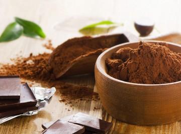 Broken chocolate bar and cocoa powder